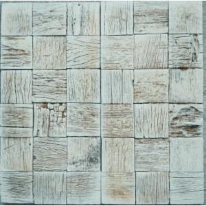 Искусственный камень Древесная мозаика коричневая платина